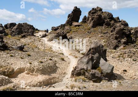 Trekking durch die Lavafelder der oberen Oturere Tal, Tongariro Northern Circuit, Nordinsel, Neuseeland - Stockfoto