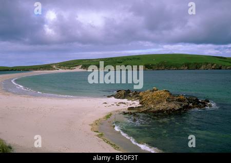 St. Ninian Isle Sand Tombolo, Festland, South Mainland, Shetland-Inseln, Schottland, Europa St. Ninian herstellen - Stockfoto