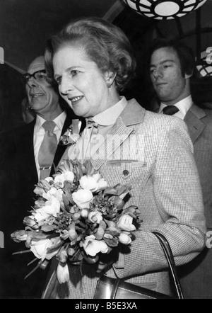 Frau Margaret Thatcher am Tag wurde sie nach dem Sieg der Parlamentswahlen Ministerpräsident.   Mai 1979 - Stockfoto