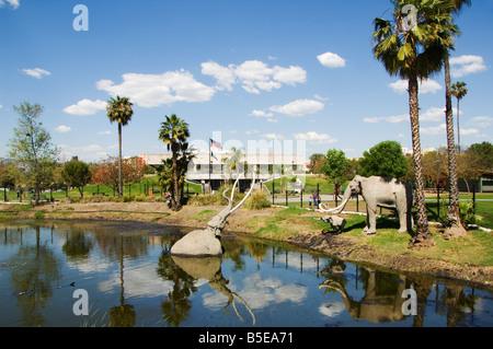 Modell-Elefanten in La Brea Tar Pits, Hollywood, Los Angeles, Kalifornien, USA, Nordamerika - Stockfoto