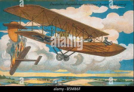 2 G55 B1 1916 4 deutscher Doppeldecker Angriffe WWI 1916 Geschichte Weltkrieg Aerial Warfare A deutscher Doppeldecker - Stockfoto