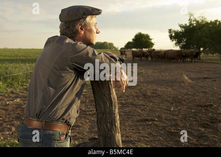 Ein Mann auf einer Ranch, stützte sich auf einen Zaunpfahl - Stockfoto