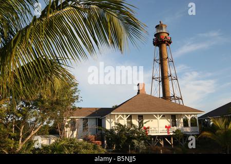 Sanibel Island Lighthouse in der Weihnachtszeit - Stockfoto