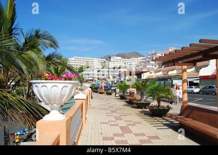 Strand und Promenade, Puerto de Santiago, Teneriffa, Kanarische Inseln, Spanien - Stockfoto