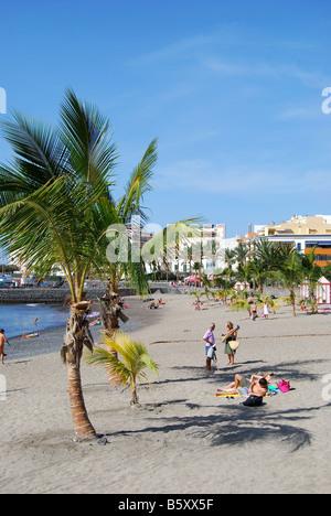 Strandblick, Playa de San Juan, Teneriffa, Kanarische Inseln, Spanien - Stockfoto