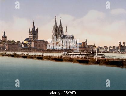 Brücke über Rhein, Köln, Deutschland Ca. 1900 - Stockfoto