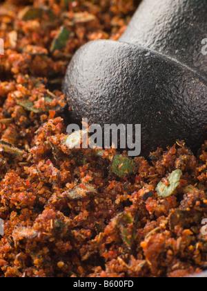 Cajun Spice Rub in einem Stößel und Mörser - Stockfoto