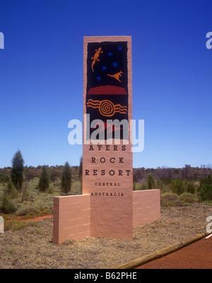 Ayers Rock Resort Schild - Uluru-Kata Tjuta National Park - Stockfoto