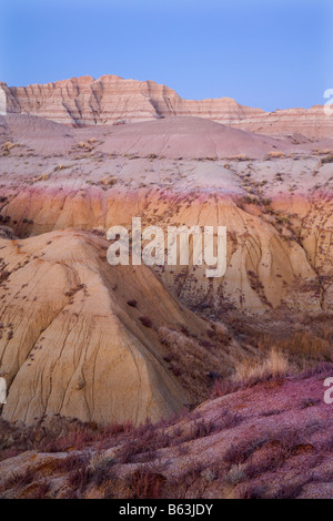 BADLAND Formationen in gelben Hügel Bereich, Badlands Nationalpark, South Dakota - Stockfoto
