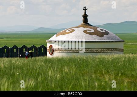Shop im Grünland Touristenlager ähnelt Jurte, Xiwuzhumuqinqi, Innere Mongolei, China - Stockfoto