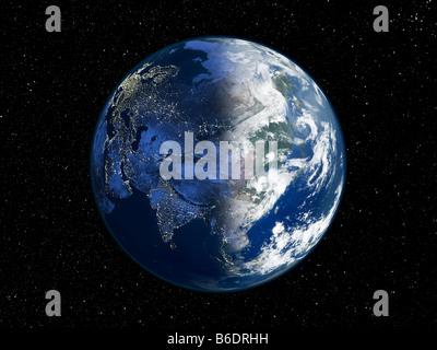 Asien in der Nacht. Satellitenbild der Erde in der Nacht, vor dem ...