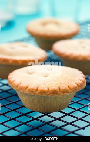 Mince Pies auf ein Kuchengitter. - Stockfoto