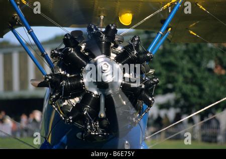 Alte amerikanische Continental R-670-5 Sternmotor (225 PS) auf einen Trainer Doppeldecker Boeing PT-17 Kaydet / - Stockfoto