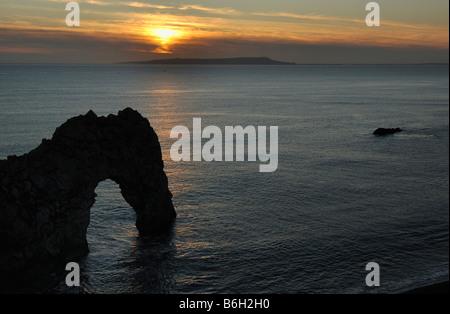 Sonnenuntergang Durdle Door Dorset-England - Stockfoto