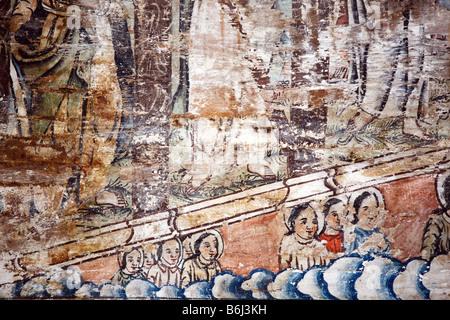 sehr alte religiöse Gemälde in Barsana alte Holzkirche, Maramures, Rumänien - Stockfoto