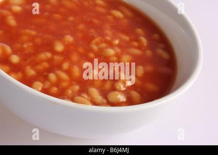 Gebackene Bohnen in Tomatensauce. - Stockfoto