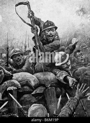 Ersten Weltkrieg zeitgenössische Illustration von französischen Soldaten stürmen einen deutschen Graben. - Stockfoto
