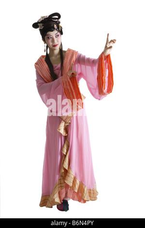 Porträt von Beijing-Oper-Darsteller in traditioneller Kleidung und Make up - Stockfoto
