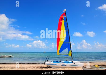 Farbenfrohe Katamaran an einem tropischen Strand, Cancun, Mexiko - Stockfoto