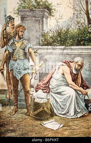 Tod des Archimedes. Antike griechische Mathematiker. Syrakus auf Sizilien, 287-212 C. antiken Abbildung. 1900 - Stockfoto