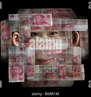 Neubewertung mit ändern. Chinas wachsende Wirtschaft gebaut auf die Macht der 1,4 Milliarden Menschen. Die Kosten - Stockfoto