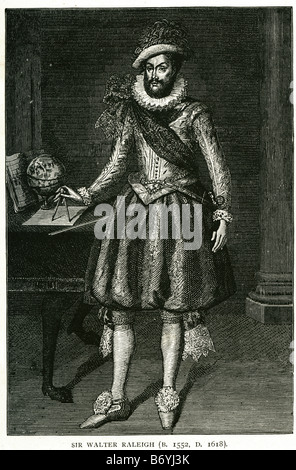 Sir Walter Raleigh 1552 1618 englische Schriftsteller Dichter Soldat Höfling explorer - Stockfoto
