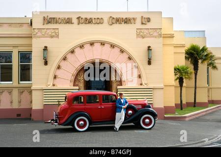 Neuseeland, Nordinsel, Napier, Art-Deco-Gebäude, National Tobacco Company. - Stockfoto