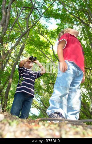 Vier bis sechs Jahre alten Brüder schauen nach oben, auf Wanderweg im Wald, Winnipeg, Kanada - Stockfoto