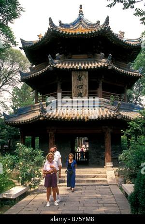 Reisegruppe, geführte Tour, Reiseleiter, Touristen, Besucher, besuchen, die große Moschee, Moschee, Xian, Xian, - Stockfoto