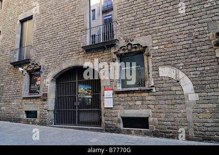Eingang, Fassade, Museu de Historia De La Ciutat, historisches Museum, Plaza, Barri Gotic, Barcelona, Katalonien, - Stockfoto