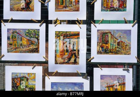 Zeichnungen von Tango-Tänzer zum Verkauf in der touristischen Gasse Caminito in der Dockland Gebiet La Boca, Buenos - Stockfoto