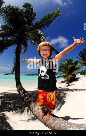 Kleiner Junge auf einem Baumstamm Cocunut Palm in Kurumba Resort, Malediven, Indischer Ozean - Stockfoto