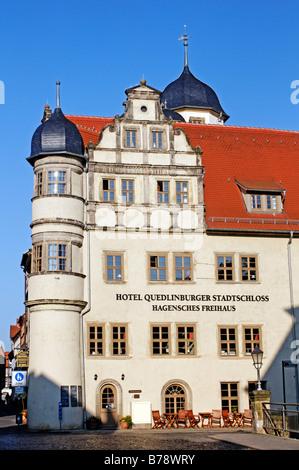 Hotel in Quedlinburg Stadtburg, Quedlinburg, UNESCO-Weltkulturerbe, Sachsen-Anhalt, Deutschland, Europa - Stockfoto