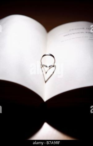 Ring mit einer herzförmigen Schatten auf ein offenes Buch