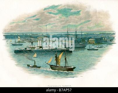 Portsmouth harbour Wasser Handel Transport Küste segeln Bucht Boot rudern Port Dock Ozean sea - Stockfoto