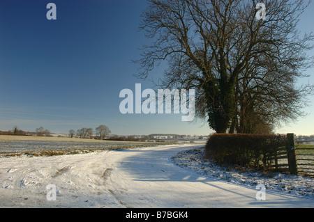 Winter-Szene in der Nähe von Burton Overy, Leicestershire, England, Uk - Stockfoto