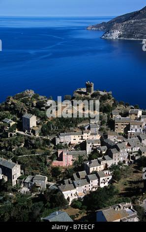 Luftbild von der Ortschaft Nonza, Cap Corse, Korsika, Frankreich - Stockfoto