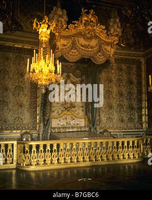 Der marie-antoinette Queen Schlafzimmer Chateau de Versailles Frankreich Europa - Stockfoto