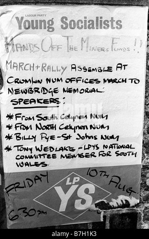 10. August 1984 Labour Party Jusos Poster an Wand während Bergleute strike Newbridge South Wales UK - Stockfoto