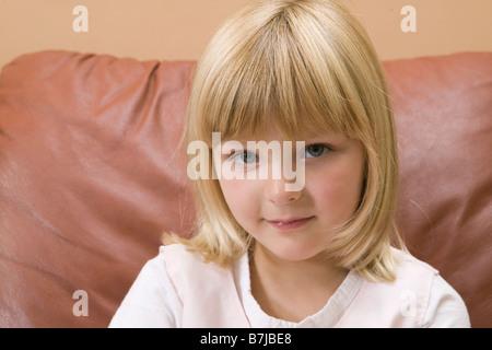 Porträt eines 5 Jahre alten Mädchens. Vancouver, BC - Stockfoto