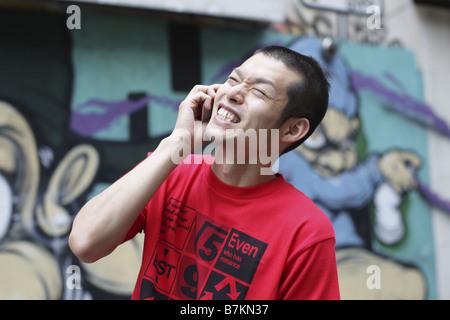 Reden über Handy Mann - Stockfoto