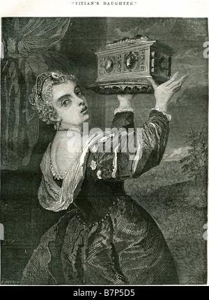 Tizians Tochter Schatulle Box Kleid Schmuck Fach gold Silber Dame Mädchen Frauen Lavinia Periode Kostüm Frau Mutter - Stockfoto
