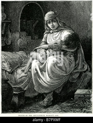 Tod tot Sunem Womens Frau Sohn II Könige iv 20 Sunem ist ein kleines Dorf in der Bibel erwähnt. Es befand sich in - Stockfoto