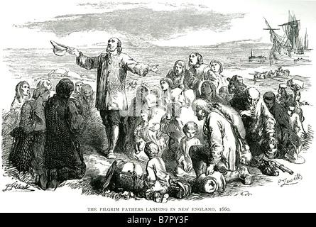 Pilgrim Fathers LAnding New England 1660 Küste Meer Boot Gott Jesus Bibel Heilige Testament alt neue Christi Pilger - Stockfoto