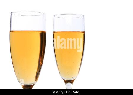 Zwei Sektgläser, isoliert auf weiss mit Beschneidungspfade - Stockfoto