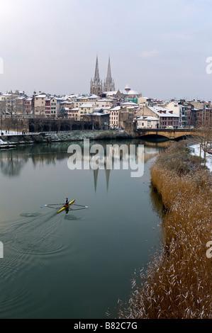 Bayonne unter Schnee Pays Basque France - Stockfoto