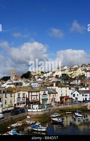 Blick über Hafen Brixham Torbay Devon England Großbritannien - Stockfoto