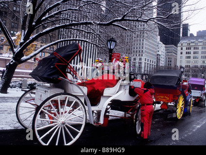 New York City Fifth Avenue Grand Army Plaza im Winter Hansom Wagen Pferd und Buggy Central Park USA - Stockfoto