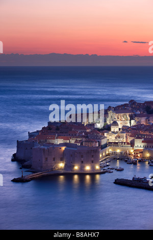 alte Stadt-Hafen-Dämmerung Dubrovnik Dalmatien Kroatien - Stockfoto