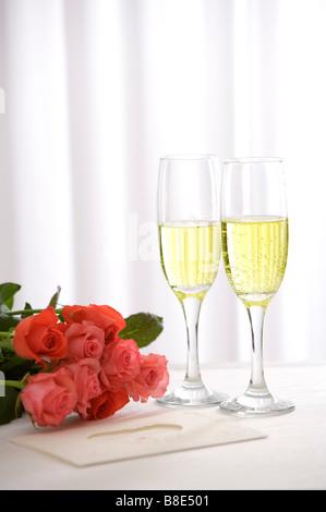 Prink Rosen und Champagner - Stockfoto